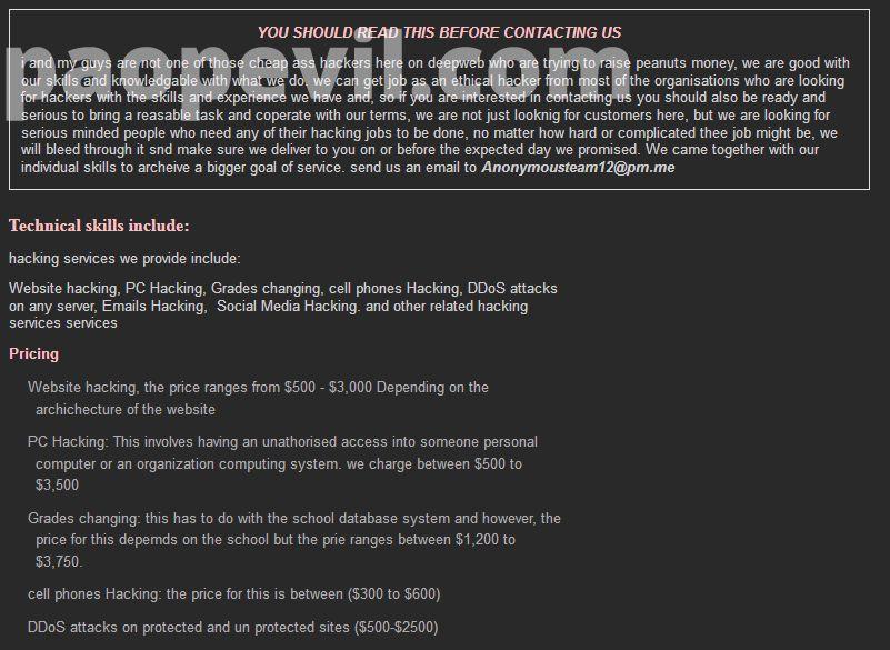 lưu ý trước khi gửi email cho nhóm anonymous team