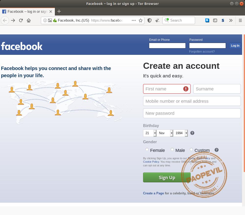 mạng xã hội Facebook ở Deep Web
