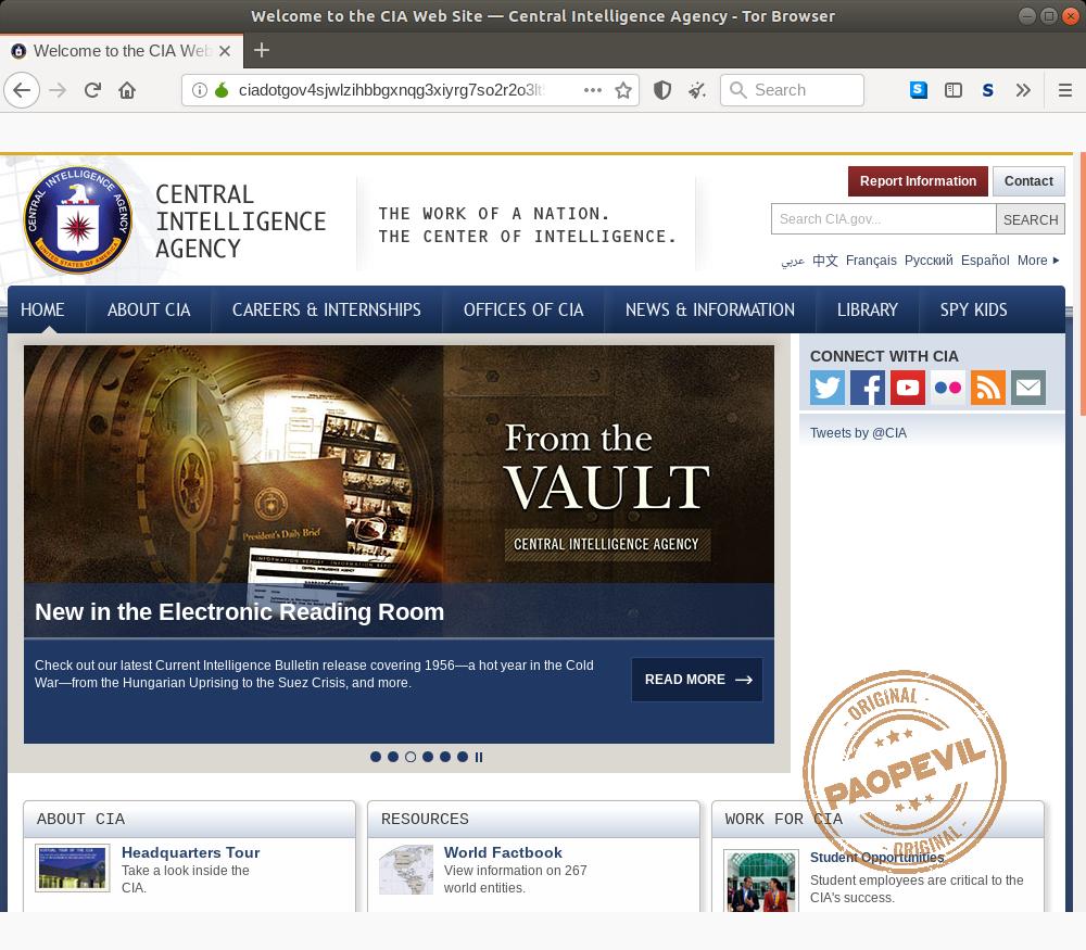 trang web chính thức của CIA ở deep web